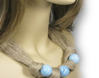 Linen Necklace, Necklace of threads,Blue necklace,Linen cord, Natural necklaces,Natural style,Eco style, textile necklaces, Organic Necklace