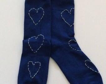 Blue silver heart socks
