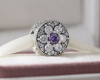 Forget Me Not Charm, 925 Sterling Silver with Mixed Purple & Clear CZ Fits to all Pandora Charm Bracelets, European Charm,
