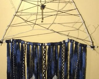Dream Catcher Blue White Silver Wall Hanging XL