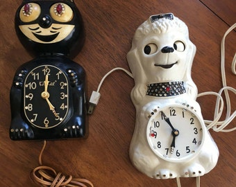 KitCat Clock Felix the cat and Poodle.