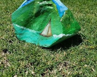 Original Painting on Authentic Rock from Lanikai Landscape