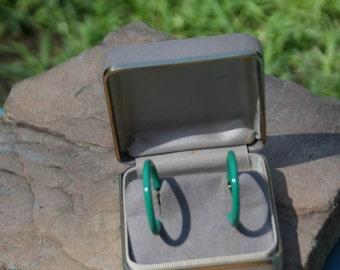 Green enamel open loop stud earrings