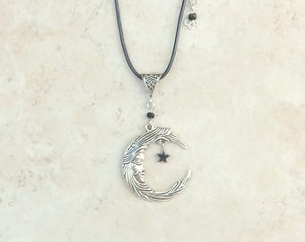 Necklace  Crescent Moon Pendant-  Celtic, Wicca,Pagan