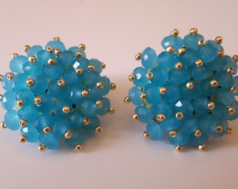 Beaded Clip On Earrings - Aqua