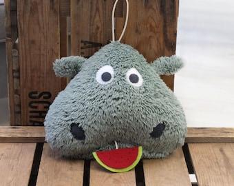 Handmade Hippo music box - hippo stuffed animal - baby musical softie - baby shower gift - nursery decoration