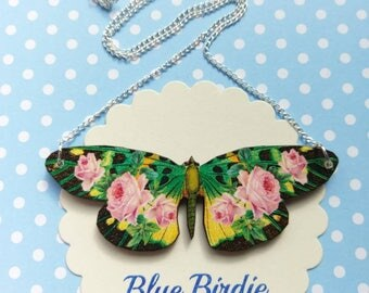 Butterfly necklace butterfly jewelry butterfly gifts for her pink butterfly bib necklace butterfly jewellery insect jewelry