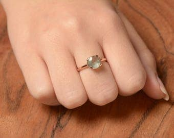 Aquamarine Ring - Petite Ring - Ring with Aquamarine - Engagement Ring - Gift for Her - Gold and Aquamarine - Blue Stone Ring - Small Ring
