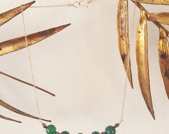 Green Onyx and Garnet Necklace
