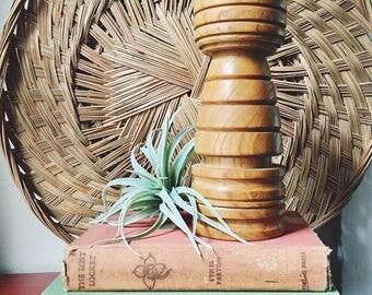 turned wood candle stick / vintage wood / vintage wood candle holder / carved wood / wooden candlestick