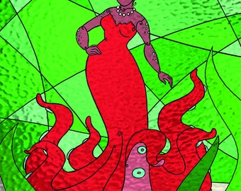 Octopus Mermaid Stained Glass print