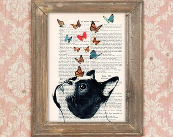 French Bulldog Print, Frenchie with butterflies, French design, black and white,bulldog poster Art Print on recycled french book page