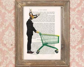 Supermarket deer, caddy print,vintage deer, dandy deer, shop deer, shopping,  deer painting, deer illustration, antlers, stags, hunter print