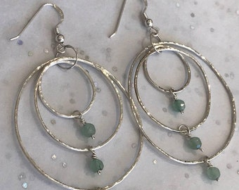 Sterling Silver Trio Hoop Earrings With Aventurine Gemstone Bead
