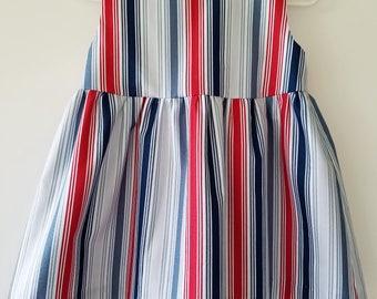 "Florence dress in ""Shore Lines"" - toddler dress - handmade dress - summer dress - 4th of July dress -Memorial Day dress- 12m - 18m - 2T - 3T"