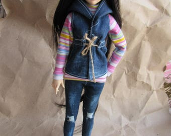 MSD clothes outfit - vest with hood, sweatshirt, jeans. for bjd 1/4 minifee msd