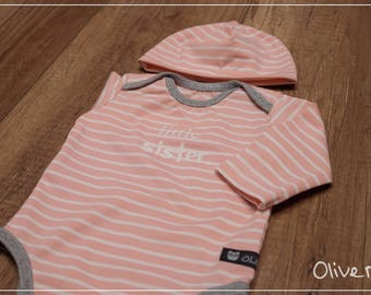 Set: Organic BabyBody with Cap Gr. 50-68 in peach rose
