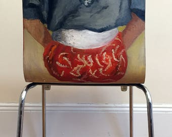 woman's back painted on wooden chair