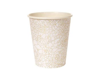 Gold Foil Party Paper Cups, Party Cups, fancy party cups, party paper cups, Gold paper cups,Gold disposible cups,Gold flower pattern cups