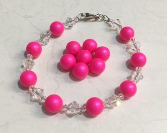 Swarovski Bracelet Neon Pink
