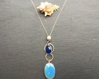 Dark Blue Chalcedony Silver Chain Necklace