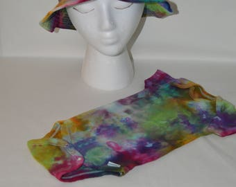 Parent Bucket Hat and 3 month ice dyed onesie