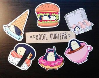 Foodie penguins sticker set