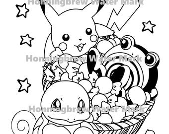 5 Pokemon Coloring Pages - Black and White