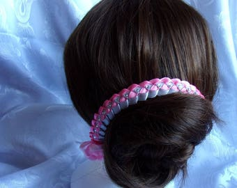 Headband wedding Ribbon rose and gray satin with Rhinestones/wedding/bride/kanzashi flowers tiara comb