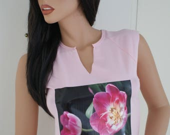 Sale!! Girls summer pink cotton tops with a beautiful bright tulip