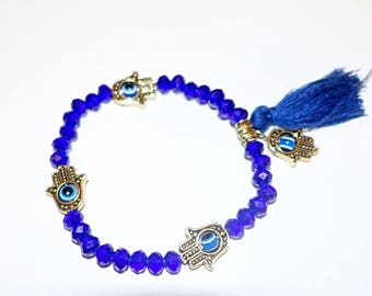 Beautiful Blue Evil Eye (Hamza) Adjustable Bracelet