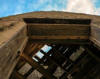 Broken Down Tower against Blue Sky