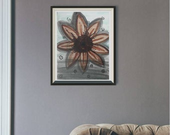 sunflower painting on illustration board with themes: love, horror, adventure.