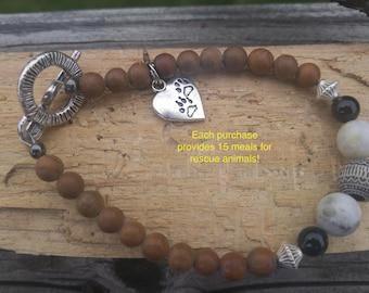 Jasper Beaded Heart Paw Print Charm Bracelet.  Original design. Brown, Black , Grey. animal rescue cat dog lovers bracelet. XL length avail