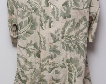 "90's Vintage ""NAUTICA"" Short-Sleeve Hawaiian Patterned Shirt Sz: SMALL (Men's Exclusive)"