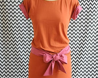 DRESS with belt ORANGE organic organic fair trade
