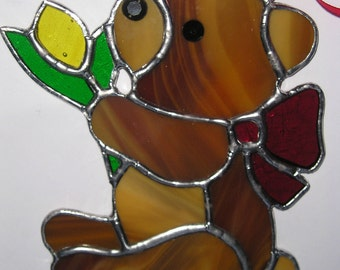 Teddy Holding a Flower, Stained Glass Suncatcher, Handmade in England