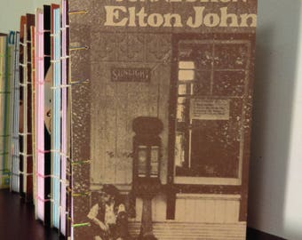 Elton John Rainbow Coptic Bound Sketch Book, Journal, Blank Pages