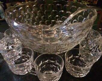 1950s Rare Pale Pink Tint Bubble Glass Punch Bowl Set
