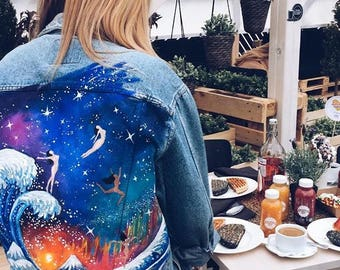 Hand painted denim jacket. The Great Wave off Kanagawa in cosmos with naked girls (! Please read the description !)