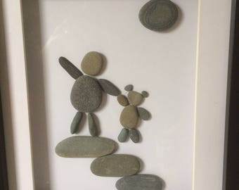 Pebble Art - Child with Teddy