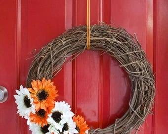 Orange and White Gerber Daisy Wicker Wreath