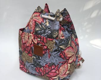Pink Leaves Canvas Bucket Bag
