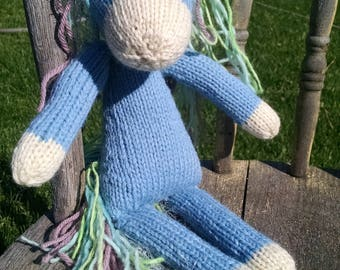 Blue Unicorn,Hand Knitted Wool Unicorn,Natural Fiber Knitted doll