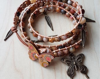 Crazy Lace Agate leather wrap bracelet with charms