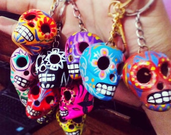 Handmade Sugar Skull Keychain Colored Clay Mexican Design - Set of 5