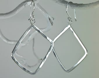 Simple Argentium Sterling silver earrings, forged and lightly hammered