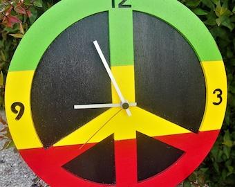 "Hand-painted CLOCK ""PEACE - REGGAE"""