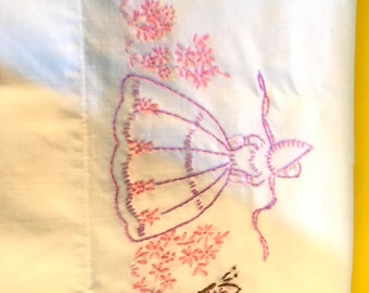 Vintage single pillowcase with Southern Bell Embroidery Great for little girls room
