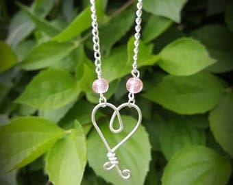 Heart wire pendant necklace
